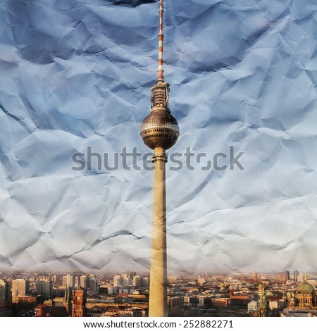 Crumbled paper Berlin  - stock photo