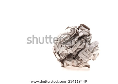 Crumbled paper isolated on white background