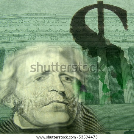 Crumbling Dollar Collage (Unhappy old President's face) - stock photo