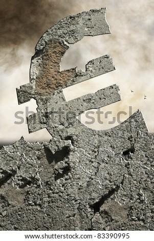 crumbling euro - stock photo