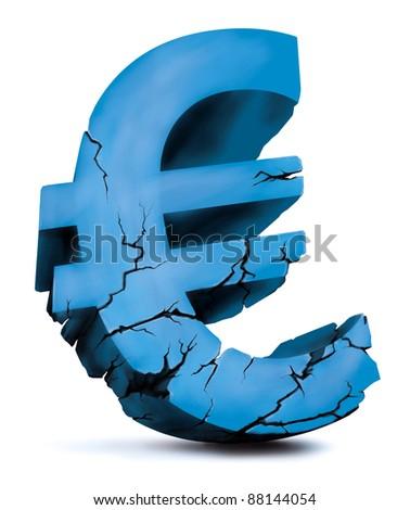 crumbling euro illustration - stock photo