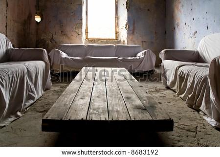 crumbling living room - stock photo