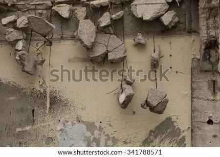 crumbling wall, Istanbul, Turkey