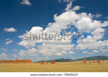 Crumbling Walls of the Old Army Barracks at Fort union, New Mexico - stock photo