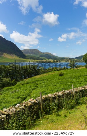 Crummock Water Lake District North West England UK between Buttermere and Loweswater with fine weather in summer - stock photo