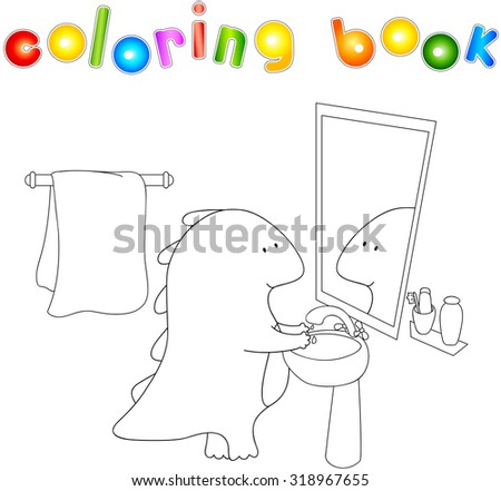 Crummy bellied dragon is washing his hands. Coloring book about healthy lifestyle for children. - stock photo