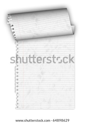Crumple Paper Roll up on white background - stock photo