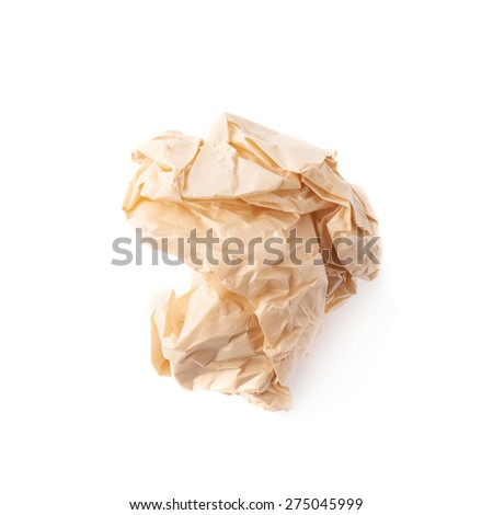 Crumpled ball of brown wrapping paper isolated over the white background - stock photo