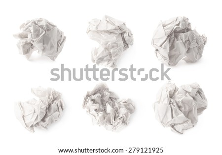 Crumpled ball of white wrapping paper isolated over the white background, set of six different images - stock photo