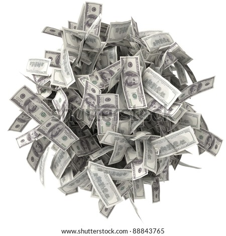 Crumpled bills. Pile of money. Ball of notes. One hundred dollars - stock photo