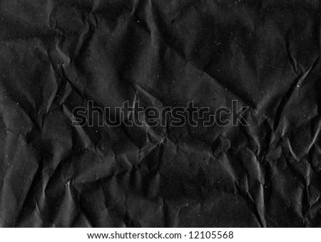 Crumpled Black Paper - stock photo