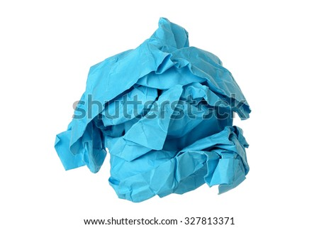 crumpled blue paper ball isolated on white