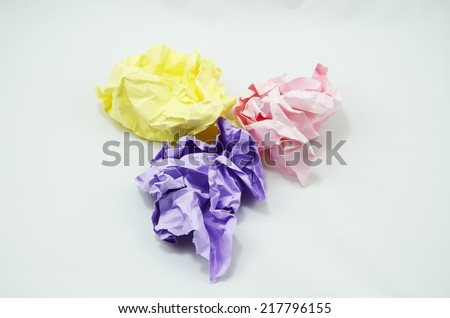 Crumpled Color Paper isolated on white background - stock photo
