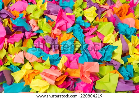 Crumpled colored paper background - stock photo