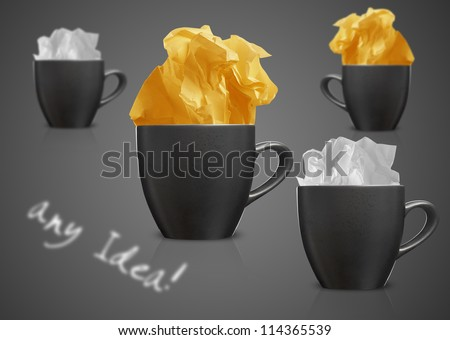 Crumpled colorful papers with coffee on black desktop. - stock photo