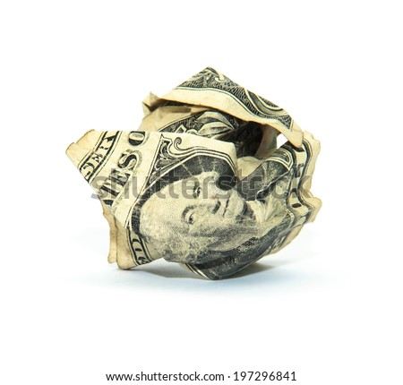Crumpled dollar bills isolated on white background - stock photo