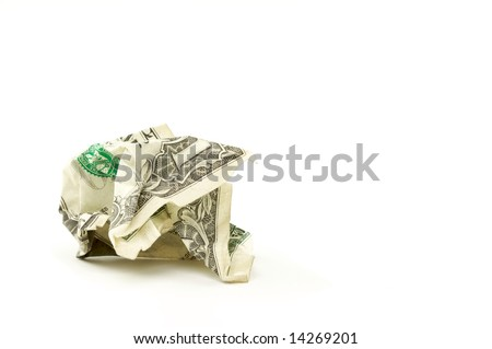 Crumpled Dollar on a White Background. - stock photo