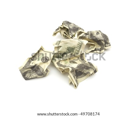 crumpled dollars isolated on white background