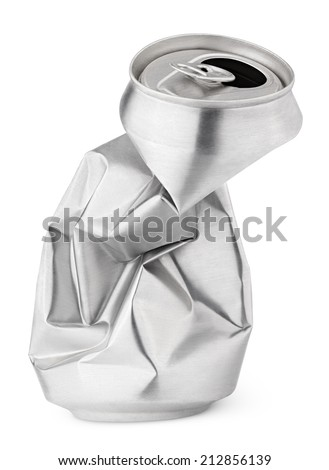 Crumpled empty blank beer can garbage isolated on white background with clipping path - stock photo