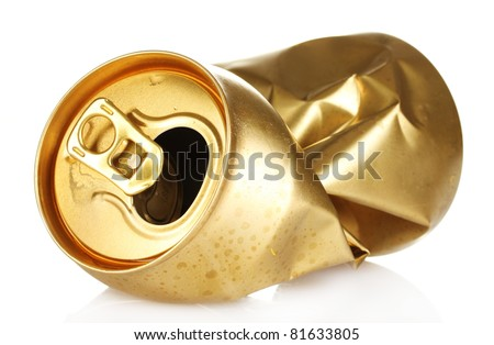 crumpled empty tin can isolated on white - stock photo