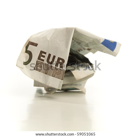 crumpled euro money - stock photo