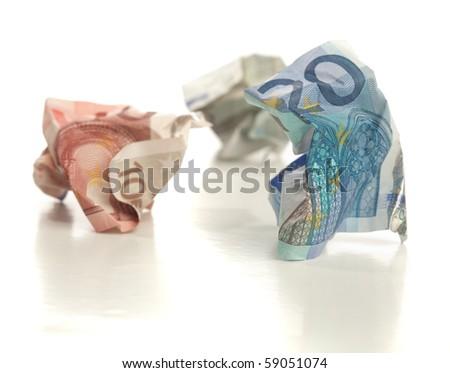 crumpled euro money - stock photo