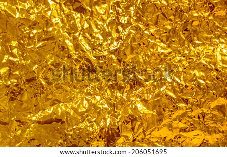 crumpled foil  yellow - stock photo