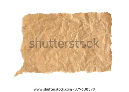 Crumpled grunge brown paper bubble isolated on white background