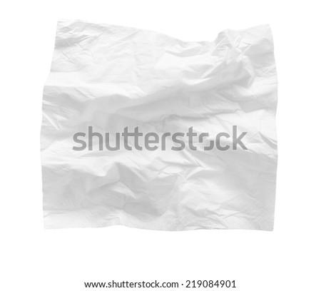 crumpled handkerchief on white background - stock photo