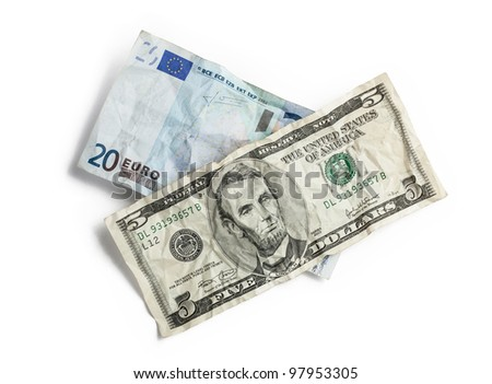 Crumpled money isolated on white - stock photo