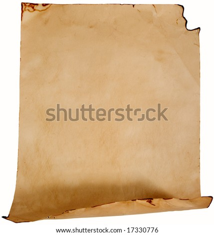 Crumpled old paper (as a roll isolated on white) - stock photo