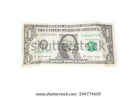 crumpled one dollar on a white background - stock photo