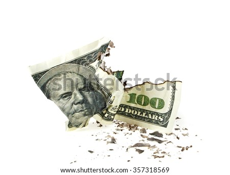 Crumpled one hundred dollar bill on white background - stock photo