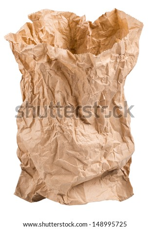 crumpled paper bag from the store is isolated on a white background - stock photo
