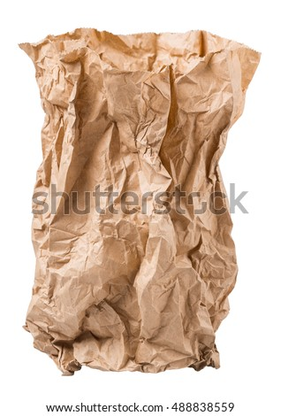 crumpled paper bag from the store is isolated on a white background