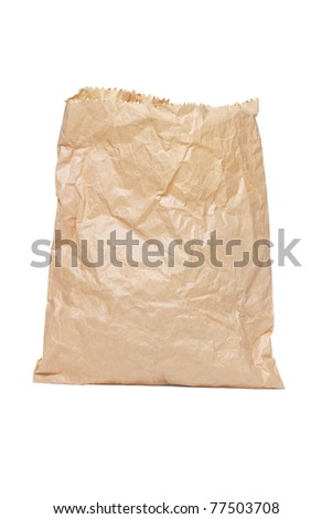 Crumpled paper bag standing on white background - stock photo