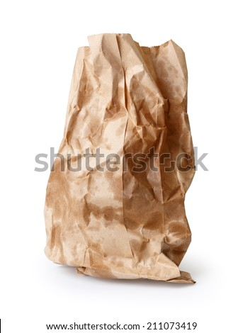 Crumpled paper bag with grease spots isolated on white