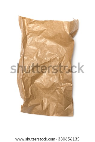 Crumpled paper bag with grease spots isolated on white - stock photo