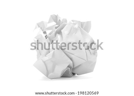 Crumpled paper ball isolated on white background with path - stock photo