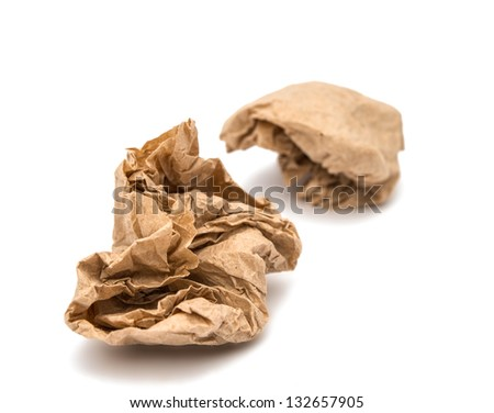 crumpled paper ball on white background - stock photo
