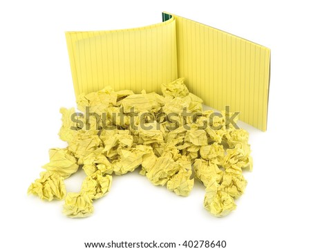 crumpled paper balls and notebook on white - stock photo