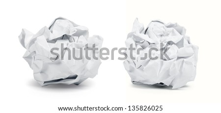 Crumpled paper balls isolated on white background. Clipping path included. - stock photo