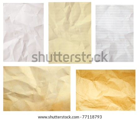 crumpled paper collection isolated - stock photo