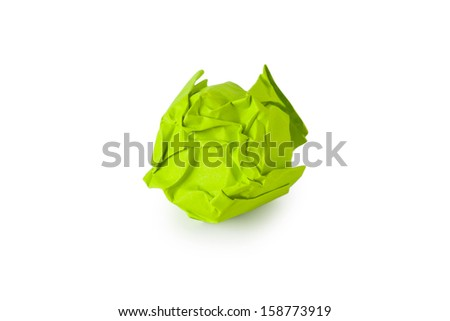 Crumpled Paper, Isolated on White Background - stock photo