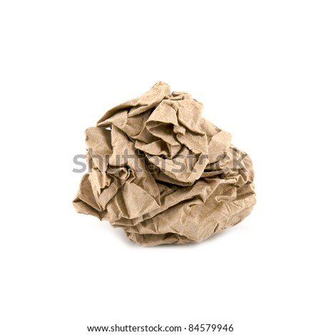 Crumpled paper isolated over white background - stock photo