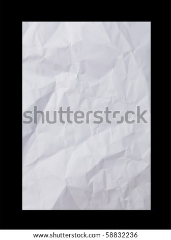 Crumpled paper on black background - stock photo