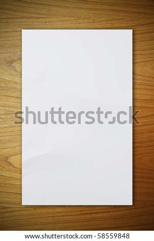 crumpled paper on the wood pattern - stock photo
