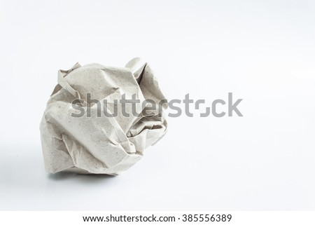 crumpled paper on white background, close up, soft focus