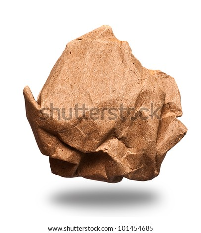 Crumpled paper recycling on white background - stock photo