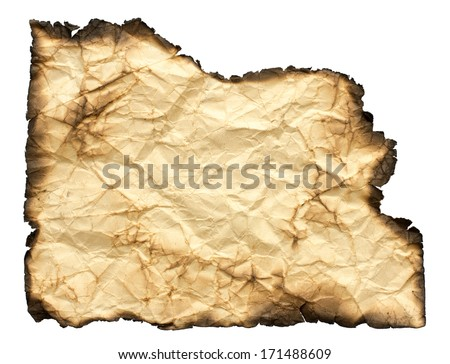 Crumpled paper with burned edges isolated on white  - stock photo
